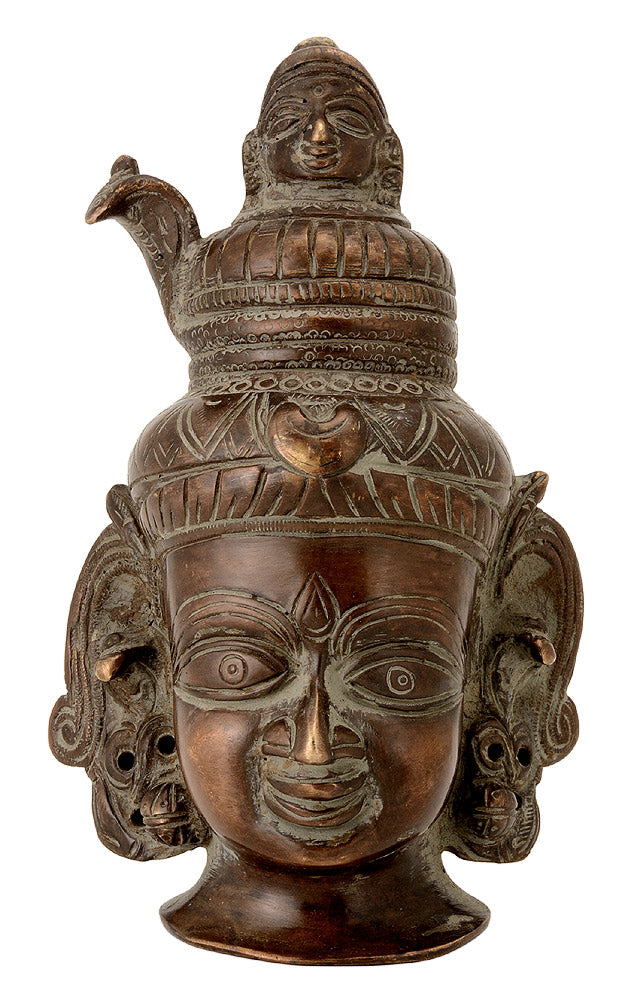 Gangadhar Shiva Head - Antiquated Brass Sculpture
