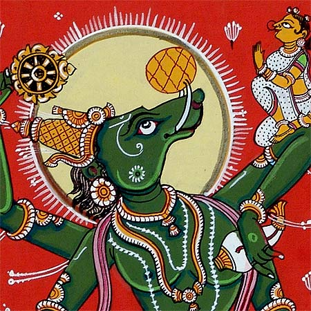 'Lord Varaha' Vishnu Dashavtar Patachitra Painting