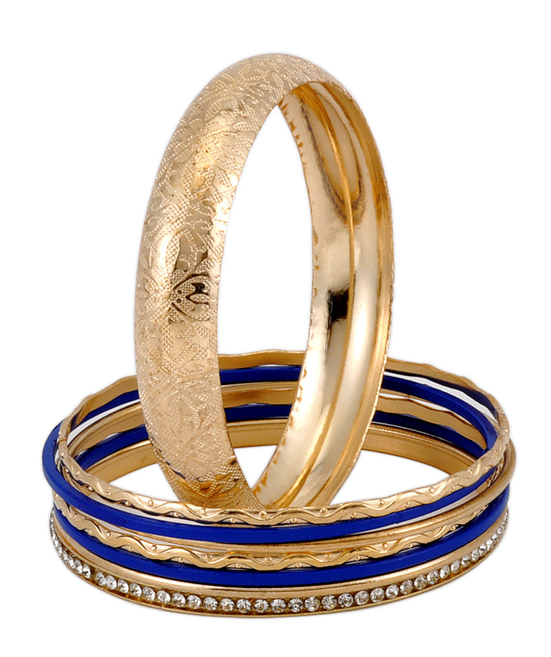 Golden Blue Combination Metal Bangles Set