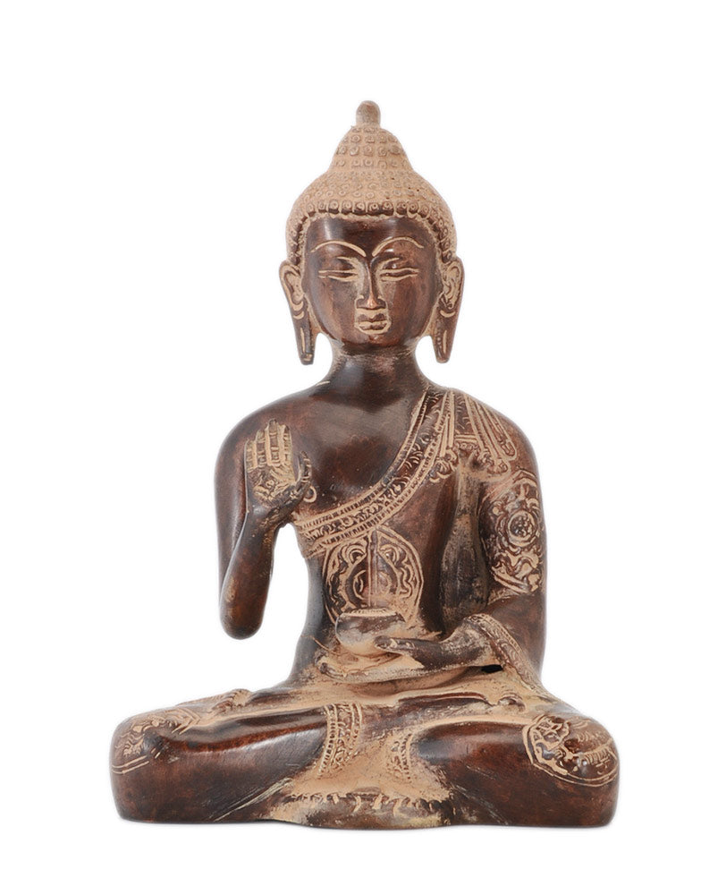 Brass Buddha Rustic Copper Finish Statue