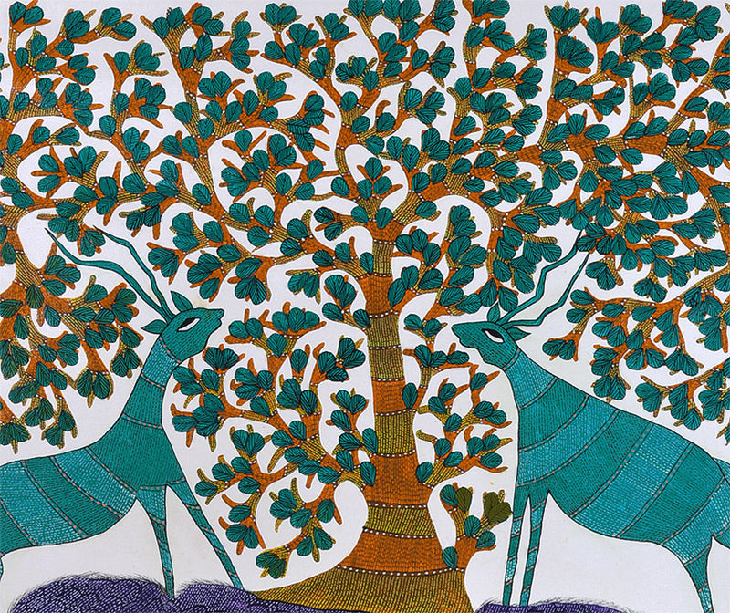 Tree and Two Deer - Gond Art