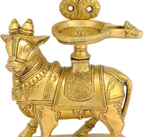 Nandi Carrying Lamp Protected by Snake Hood - Brass Sculpture