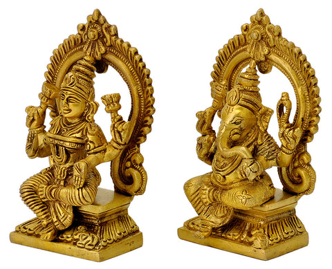 Pair of Lakshmi Ganesh Sitting on Throne