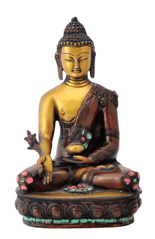 Medicine Buddha of Healing Brass Figure