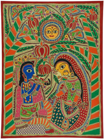 'His Mesmerizing Tunes' Painting of Radha Krishna