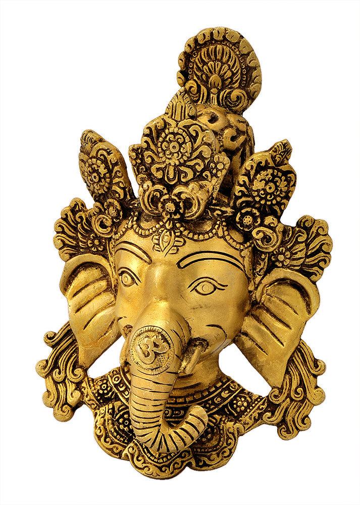 Exquisite Ganesha Wall Hanging Mask in Brass