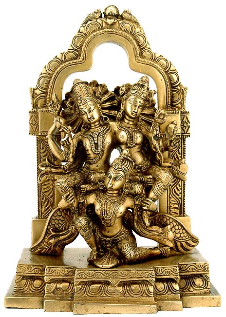 Vishnu Lakshmi seated on Mighty Garuda - Brass Statue