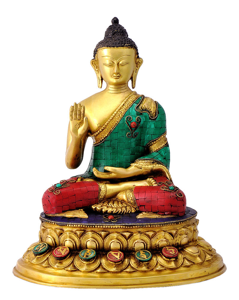 Blessing Buddha Brass Sculpture with Mosaic Work