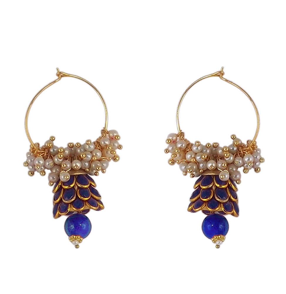 Traditional Indian Style Bali Jhumki Earrings Blue for Womens