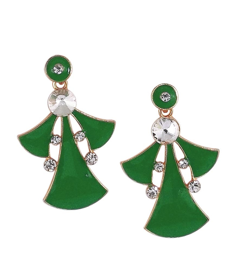 Green Earrings Dangle & Drop Stone Studded for Women