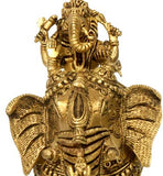 Ganesha with Consorts - Brass Sculpture 9""