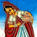 Lady with Water Pot - Batik Painting 34""
