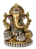 Seated Lord God Ganesha Brass Figure 7""