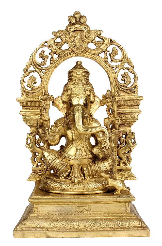 God Gajanan Seated on Chowki 15.75""