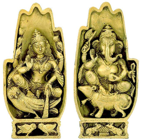 Laxmi Ganesha for Temple - Brass Statues