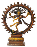 Lord Nataraja Brass Figure in Copper Red Finish 14""
