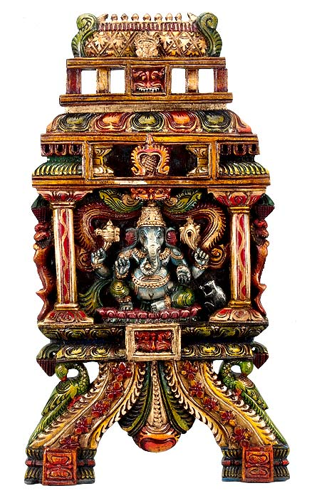Temple Ganesha - Wood Panel