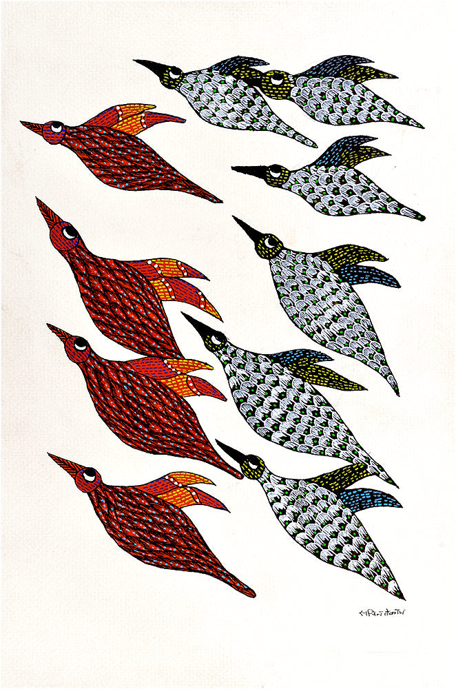 Flying Birds - Gond Tribal Painting