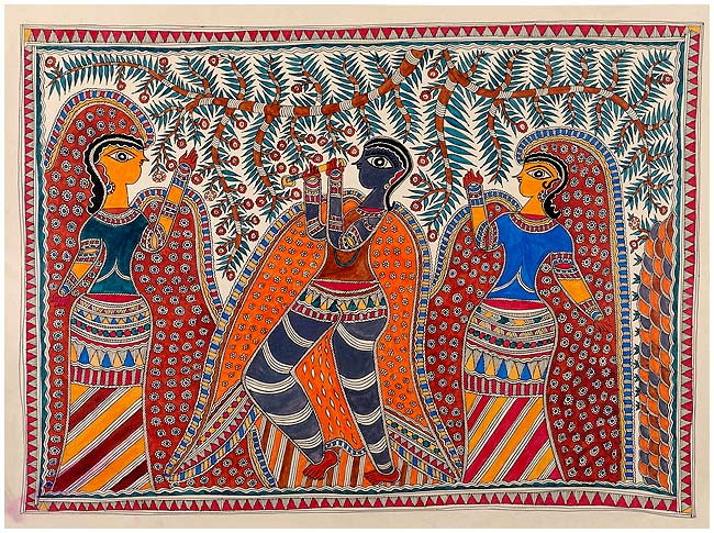 Krishna with Gopis - Mithila Painting 30""
