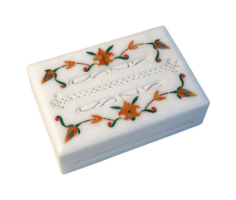 Marble Inlay Jewelry Box with Jali Work