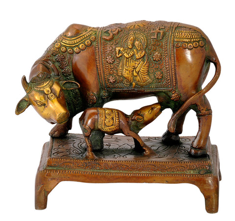 Holy Brass Cow with her Calf 6""