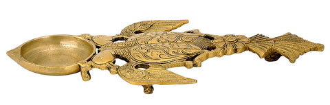 Brass Karpur Puja Aarti Holder Peacock Design