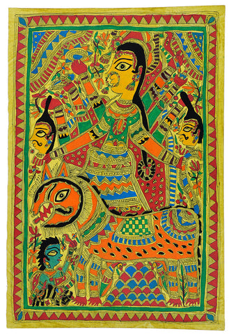 Eight Armed Devi Durga Madhubani Painting