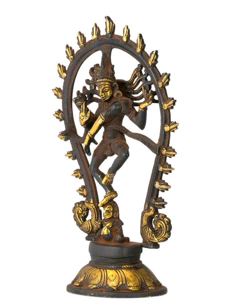 Shiva's Cosmic Dance - Antiquated Brass Statue
