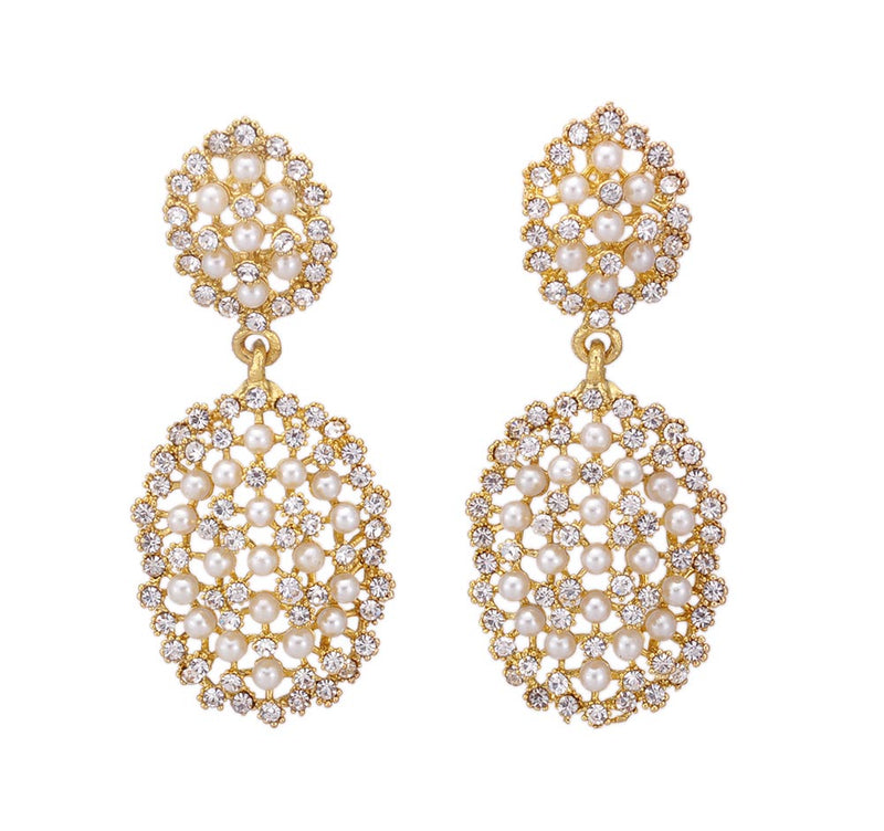 Fancy Pearl Stone Studded Dangle Drop Earring