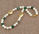 "Pearls & Aventurine Embellished Necklace ""Oriental Beauty"""