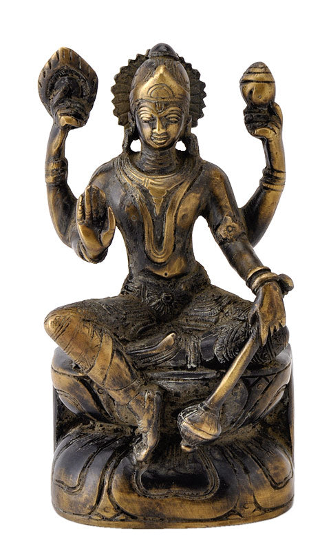Antique Finish Seated Lord Vishnu Unique Statue