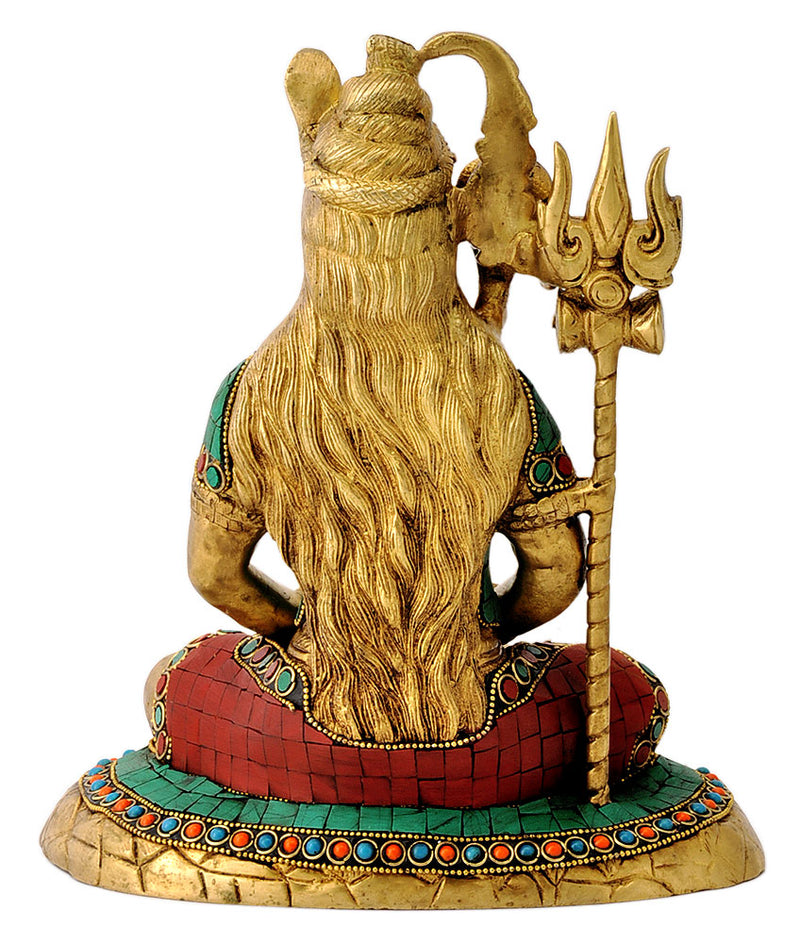 Shiv Shankar Meditating Brass Figure