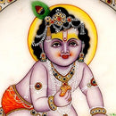 Baby Krishna Holding Laddoo - Marble Painting