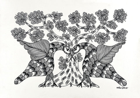 Loving Birds - Folk Art Gond Panting