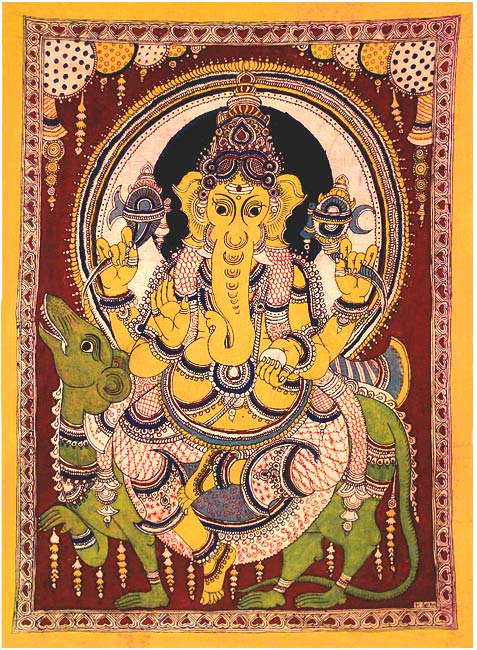 Ganesha Seated on Rat - Cotton Kalamkari Painting