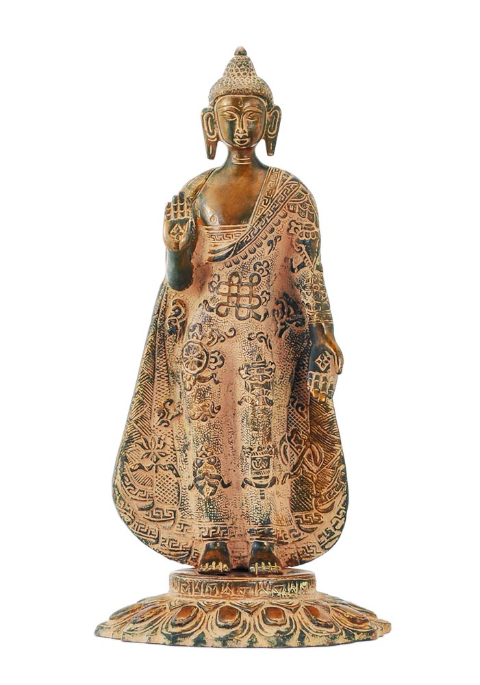 Blessing Buddha with Ashtamangala Carved on His Robe