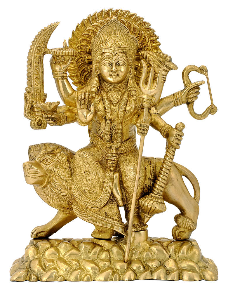 Eight Armed Goddess Durga Brass Figurine