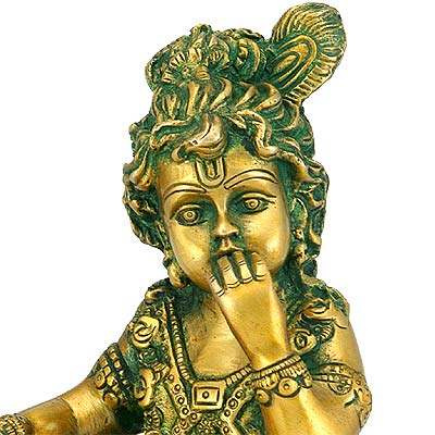 Makhanchor Lord Krishna - Brass Sculpture