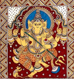 """Ashta Ganesha"" Eight Ganeshas - Kalamkari Painting 75"""