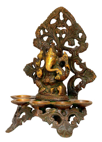 Lord Ganesha Five Wick Lamp