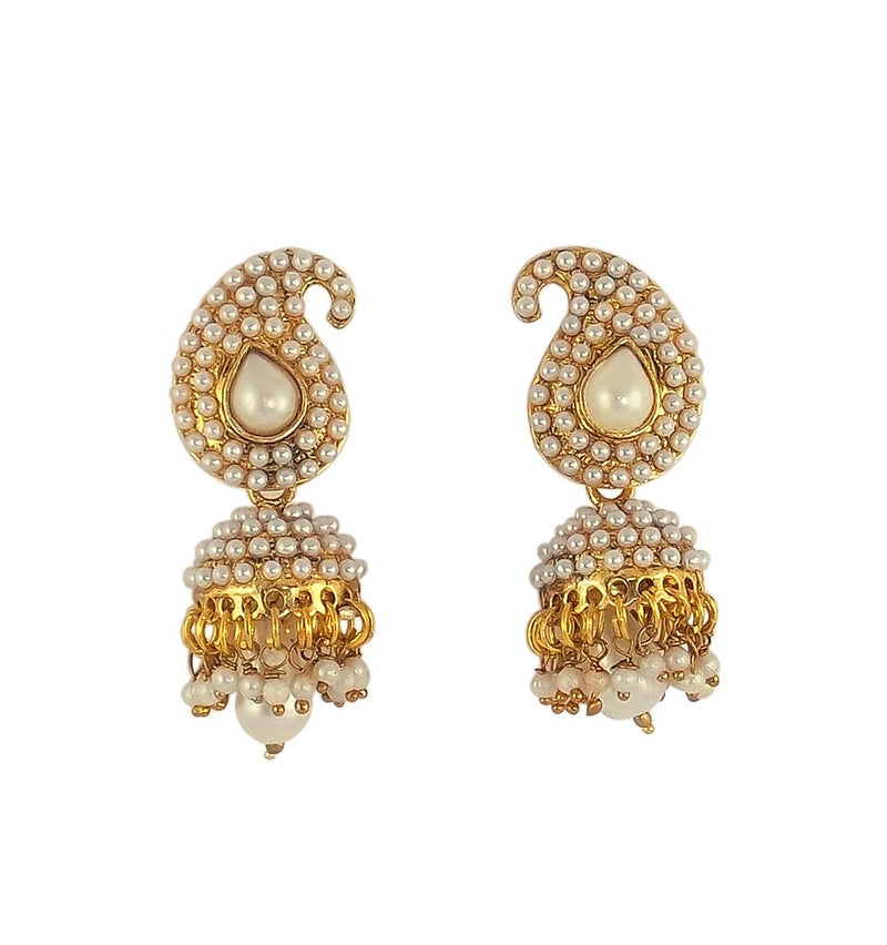 Bollywood Ethnic Fashion Gold Tone Pearl Jhumki Earring Indian Traditional Jewelry