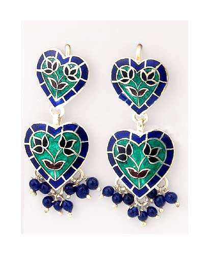 "Silver Enamel Earrings ""Singing Hearts"""