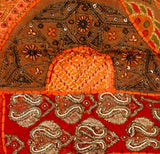 Old Sari Beaded Tapestry - Red Passion