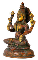 Goddess Lakshmi Statue in Golden Brown Finish
