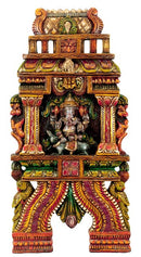 'Ganesha in Temple' Painted Wood Panel