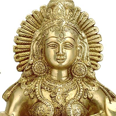 'Mata Saraswati Plays Veena' Brass Sculpture 9.25""