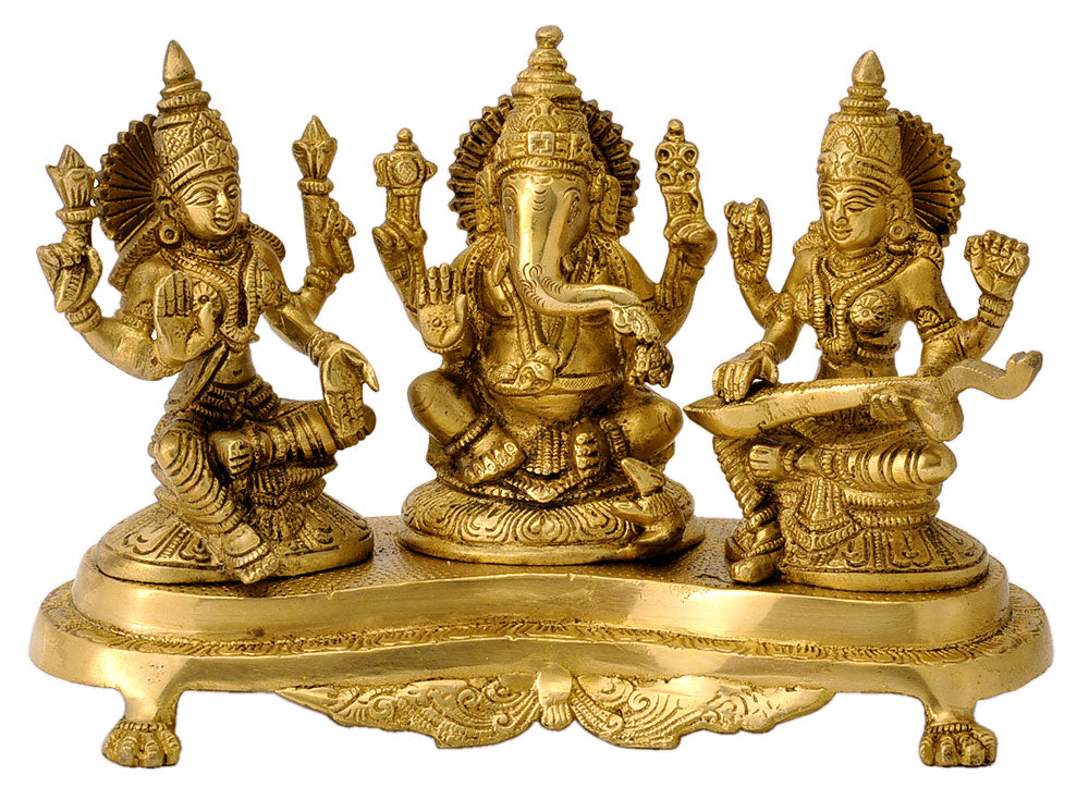 Lord Ganesha with Devi Laxmi and Saraswati 6.25""