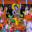 Lord Krishna Lifts Govardhan Mountain Cotton Tapestry