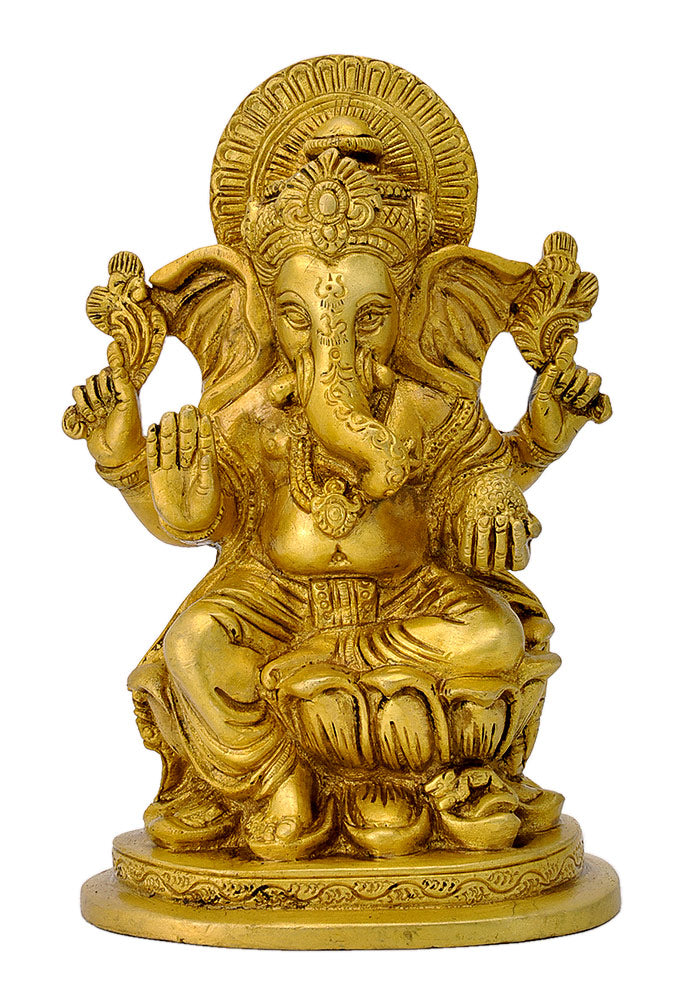 Brass Shri Ganesh in Golden Finish