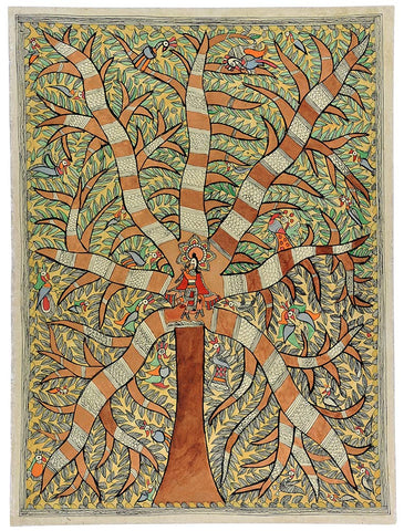 Shri Krishna Playing Flute Under the Tree - Madhubani Painting